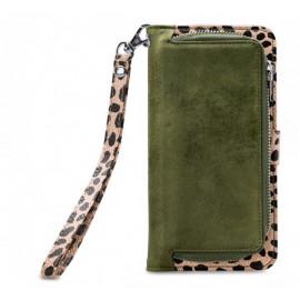 Mobilize 2in1 Gelly Wallet Zipper Case iPhone 6(S) / 7 / 8 / SE 2020 olijf/leopard