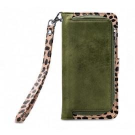 Mobilize 2in1 Gelly Wallet Zipper Case iPhone XR olijf/leopard