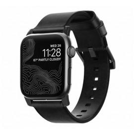 Nomad modern slim leather strap Apple Watch 42 / 44 mm zwart / zwart