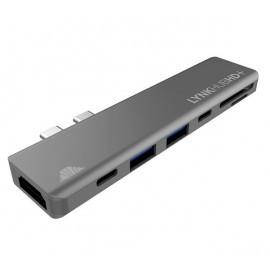 intelliARMOR USB-C 7 in 1 MacBook LynkHUB HD+ space gray