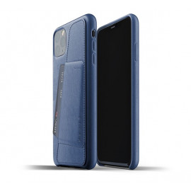 Mujjo Leather Wallet Case iPhone 11 Pro Max blauw