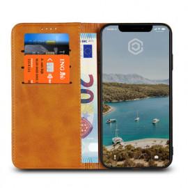 Casecentive Leren Wallet case iPhone XS tan