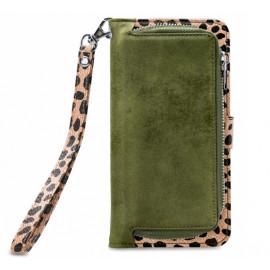 Mobilize 2in1 Gelly Wallet Zipper Case iPhone 12 / iPhone 12 Pro olijfgroen / leopard